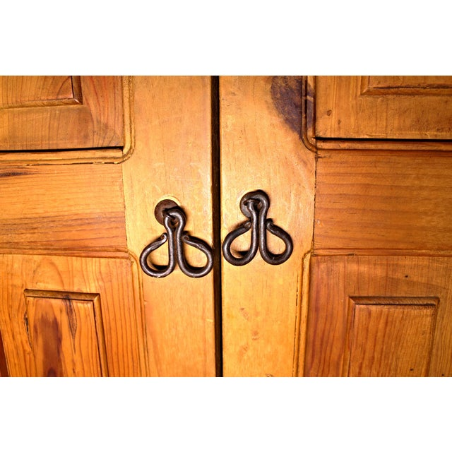 Antique Iron Hardware & Pine Armoire - Image 9 of 10