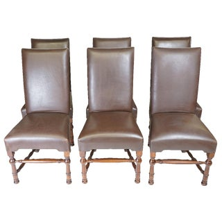 Spanish Colonial Wood & Leather Side Chairs- Set of 6