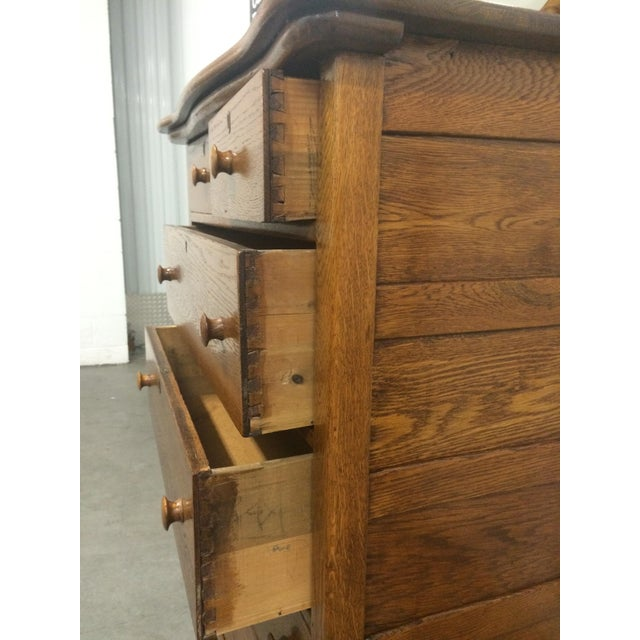 Solid Oak Antique Tallboy Dresser with Mirror - Image 6 of 8