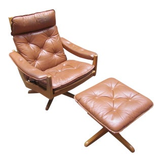 Lied Mobler Mid-Century Leather Recliner Chair & Ottoman
