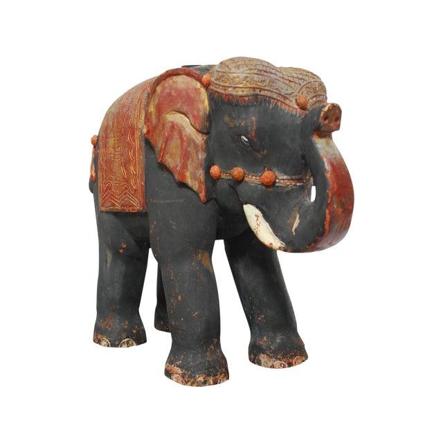 Image of Antique Polychrome Carved Wood Elephant