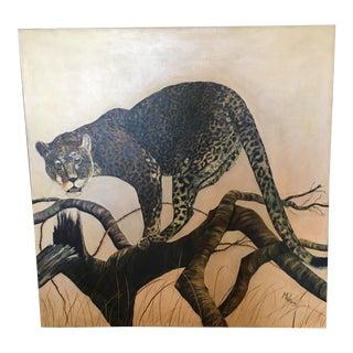 Mid-Century Leopard Oil Painting