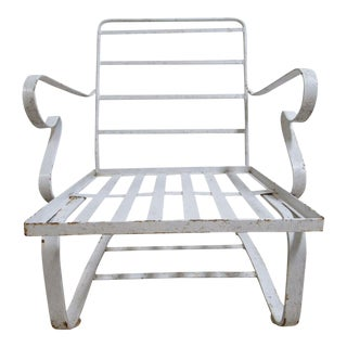 Vintage Mid-Century White Outdoor Patio Porch Spring Lounge Chair