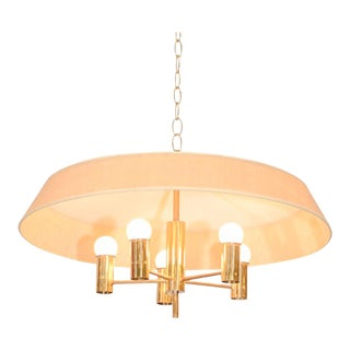 Brass and Linen Chandelier by Gerald Thurston