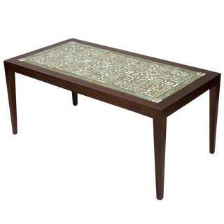 Rosewood Coffee Table with Royal Copenhagen Tiles