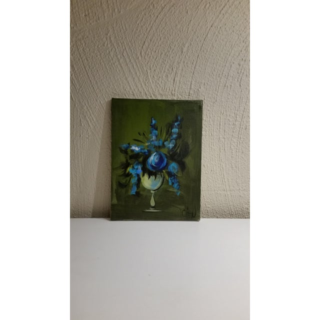 Blue Flowers in a Vase Painting - Image 3 of 5