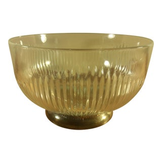 Italian Silver Footed Ribbed Glass Bowl