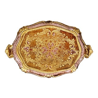 Italian Pink Florentine Wood Painted & Gilded Tray
