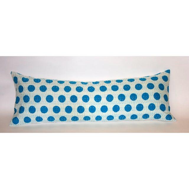 Blue Kantha Polka Dot Pillow - Image 2 of 3