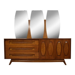 Walnut Dresser and Mirror by Young Manufacturing