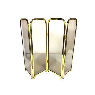 1970s Glass and Brass Folding Screen