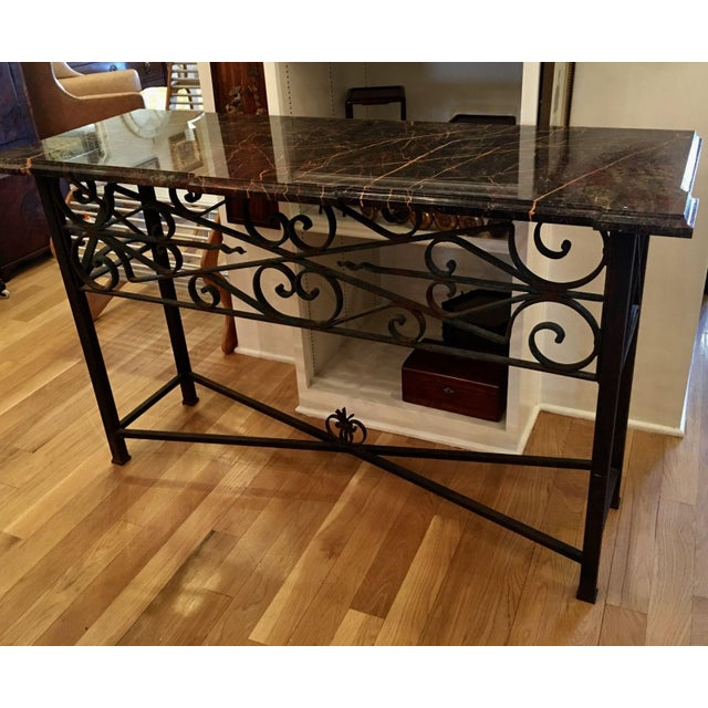 Early 20th c wrought iron rouge marble top console for Table th width