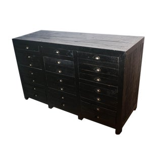 Restoration Hardware Printmaker's Black Pine Dresser