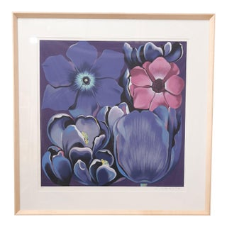 """Framed Signed and Numbered Serigraph """"Violet Monochrome"""" by Lowell Nesbitt"""