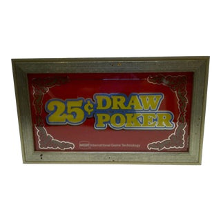 C. 1970 Glass Display Top 25 Cent Draw Poker Machine Sign