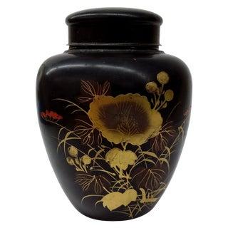 Vintage Japanese Hand Painted Tin Tea Caddy