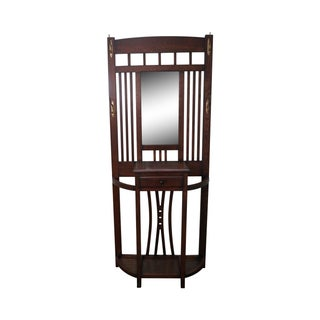 Solid Oak Mission Style Mirrored Hall Rack