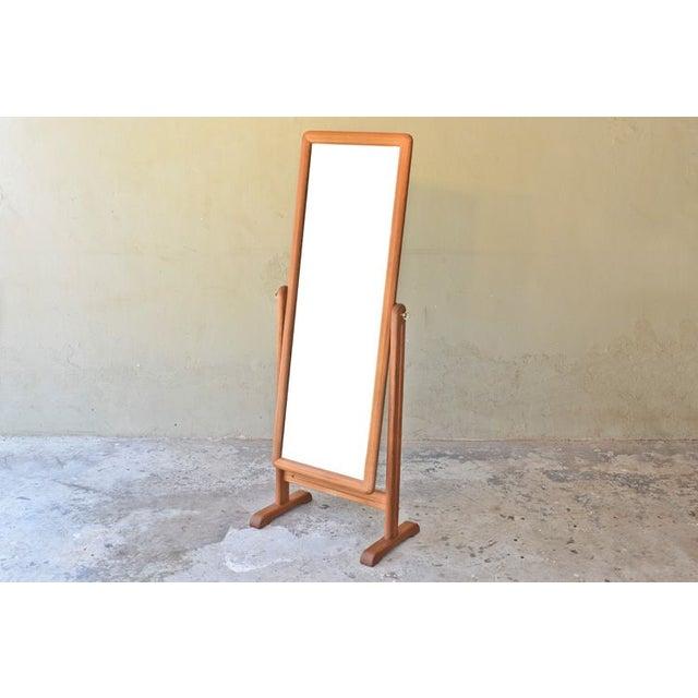 Danish Modern Teak Cheval Full Length Mirror Chairish
