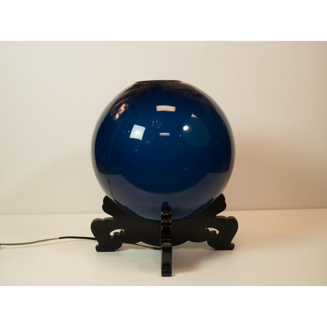 "Peacock Blue Japanese ""Crystal-Ball"" Lamp - Image 2 of 5"