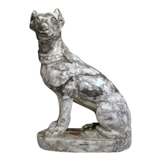 19th Century French Gray & White Marble Dog Figure