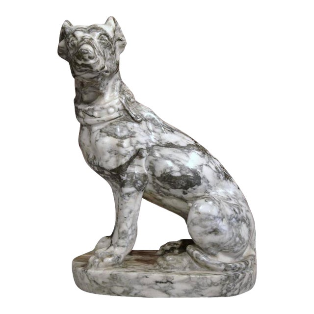 19th Century French Gray & White Marble Dog Figure - Image 1 of 10