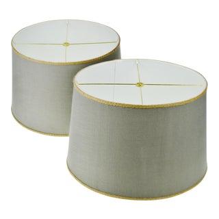 Vintage Linen Drum Lamp Shades - A Pair