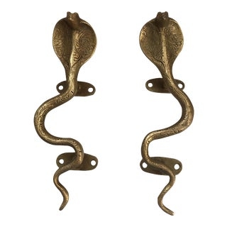 Gold Brass Cobra Door Handles - A Pair