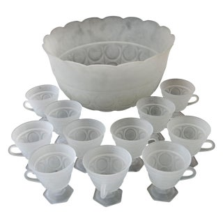 12pc Mid-Century Frosted Glass Punch Bowl & Cups