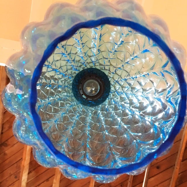 Vintage Blue Murano Glass Light Pendant - Image 3 of 5