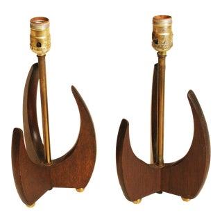 Vintage Kagan Style Sculptural Wood Lamps - Pair