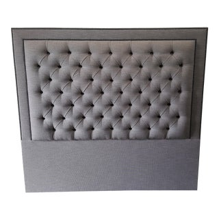 Gray Upholstered Button Diamond Tufted Headboard