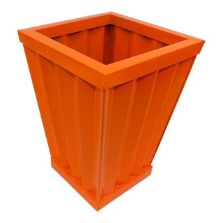 Mid-Century Modern Orange Metal Flower Waste Bucket / Card Holder