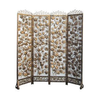 Golden Metal Grape Leaf Motif Panel Screen