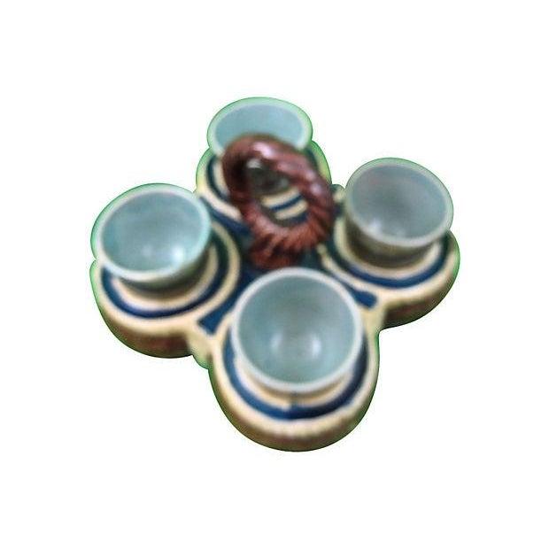 Image of Antique Majolica Egg Cup Holder Set - 5 Piece