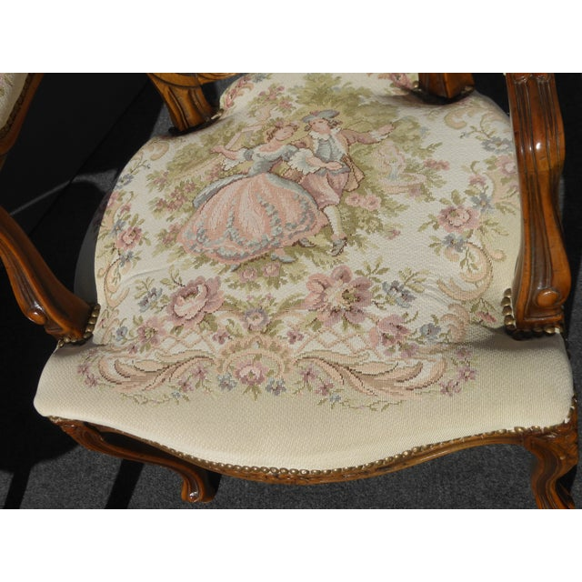 Vintage French Provincial Accent Arm Chairs - Pair - Image 10 of 11
