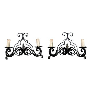 Pair French Scrolled Black Iron Two Light Sconces