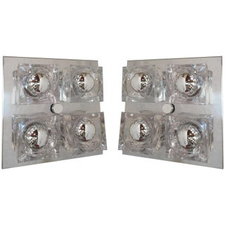 Sciolari Modern Chrome Flush Mount Lights - A Pair