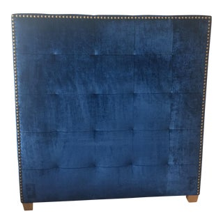 Blue Velvet Queen Headboard