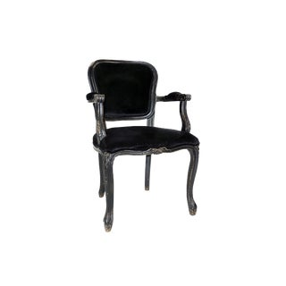 Carved Arm Velvet Side Chair