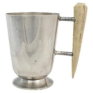 Silver-Plate Tankard w/ Horn Handle