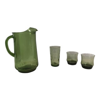 Mid-Century Modern Green Pitcher & Glasses - Set of 4