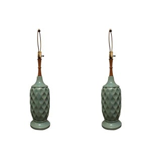 Mid-Century Vintage Turquoise Lamps - A Pair