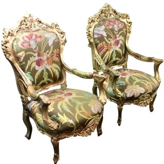 Regency Chairs in Botanical Upholstery - A Pair