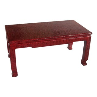 Rattan Coffee Table Lacquered in Red