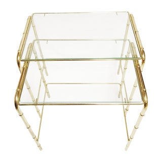 Faux Bamboo Brass Nesting Tables - A Pair