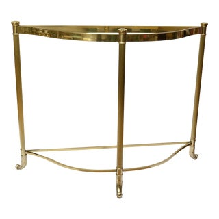 Hollywood Regency Demilune Brass Console