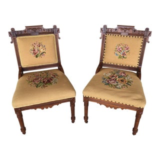 Pair of Victorian Eastlake Needle Point His & Hers Accent Chairs