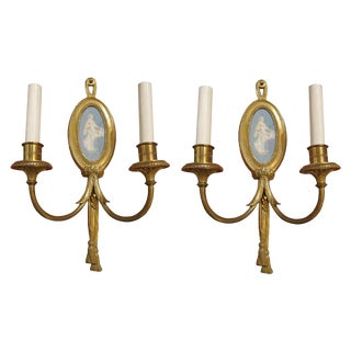 Wedgewood & Bronze Sconces - A Pair