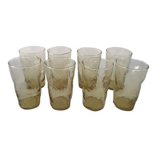 Mid-Century Amber Water Glasses - Set of 8