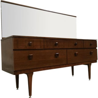 Mirrored Mid-Century Modern Dresser With Wood Inlay